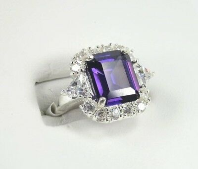 R#1161 Simulated Purple Amethyst gemstone ladies silver ring size 8