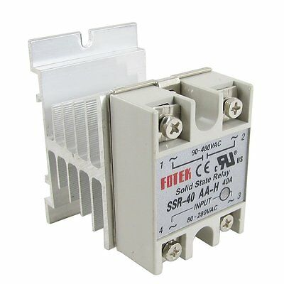 SSR-40AA-H 40A Solid State Relay Module 80-280V AC / 90-480V AC + Heat Sink