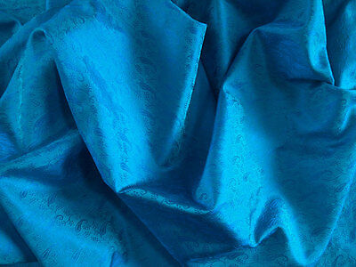 """Iridescent Shot Silk Fabric in Peacock Blue with Woven Paisley Design 44"""" Wide"""