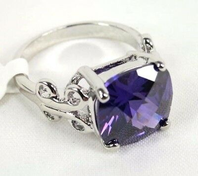 R#1752 Simulated Purple Amethyst gemstone solitaire ladies silver ring size 8