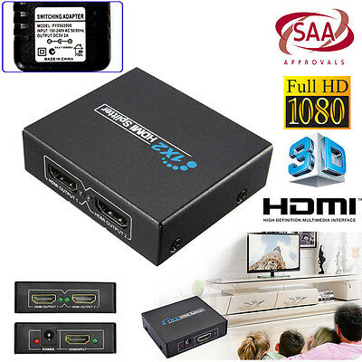 1 IN 2 OUT HDMI Splitter Duplicator Amplifier Full HD 1080P Hub HDTV SAA Adapter