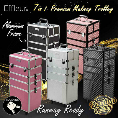 7 in 1 Portable Cosmetics Beauty Makeup Case Box Carry Bag Organizer Trolley