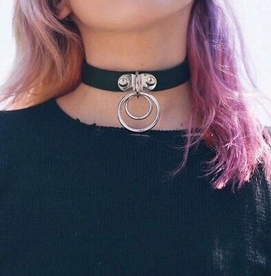 Goth Punk LEATHER  Double O-Ring Collar CHOKER ADULT RESTRAINT collar choker