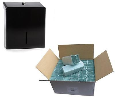 METAL Black C Fold  Paper Hand Towel Dispenser & FULL CASE PAPER Green