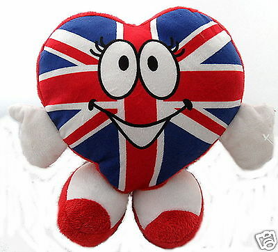 Union Jack Heart Shaped Novelty Plush Desk Accessory/ Toy