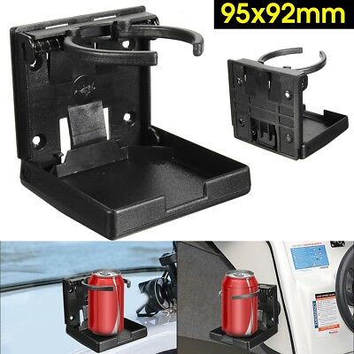 Adjustable BLACK Folding Drink Cup Holder Mount Boat Marine Caravan Car RV -UK