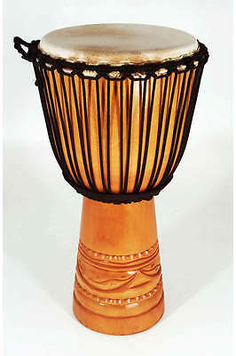 """Wood Body Djembe 9"""" x 20"""" with carved base and tight goat skin"""