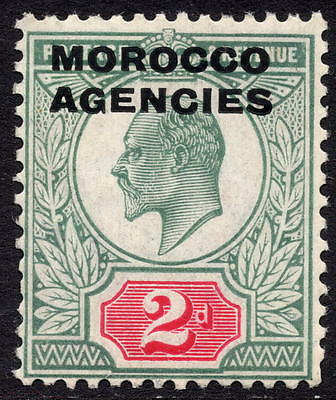 KEVII MOROCCO AGENCIES 1907 2d Green & Red SG33 Mounted Mint