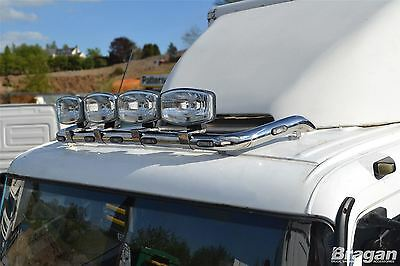 Mercedes Atego Stainless Steel Truck Roof Light Bar - Style 3 + Spots x4