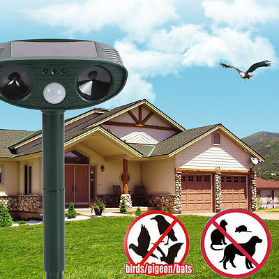 Ultra Sonic SOLAR Garden Deterrent Repeller Cat Dog Fox Bird Scarer Pest Control