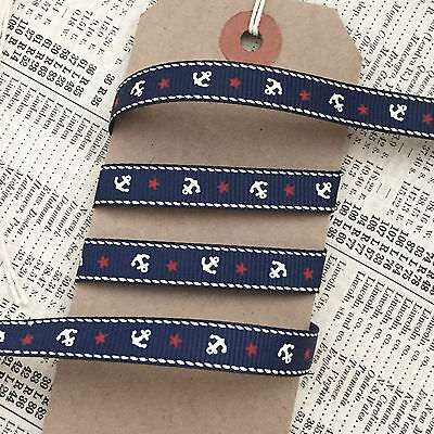 9mm Navy Nautical Grosgrain Ribbon with Cream Anchor Red Star - 1M or 5M