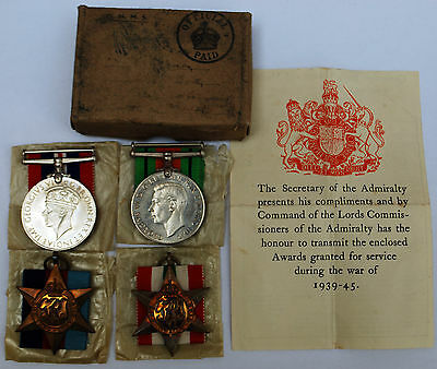 Four WW2 Medals 1939-45 Star, Italy Star, War Medal And Defence Medal With Box