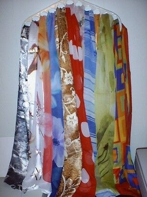 6 New Scarf Assorted Designs LONG SATIN SCARVES 13x60 FALL WINTER ANIMAL NEW