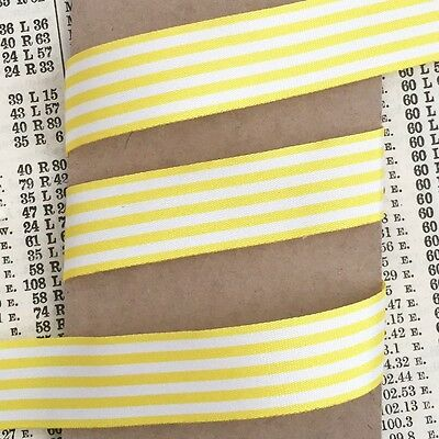 Yellow and White Nautical Stripe Ribbon 25mm Per 1M or *SAVE* with 25M roll
