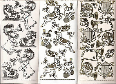 Embossed MD Peel Offs - Christmas Holly, Reindeer and Instruments 7010/11/12