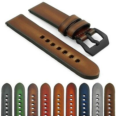 StrapsCo Vintage Faded Band Thick Mens Leather Watch Strap w/ Black Pre-V Buckle