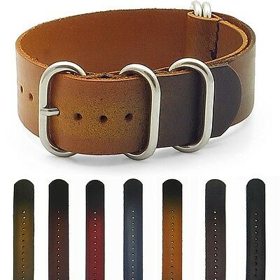 StrapsCo Burnt Faded Leather Vintage Style Mens Military Wrap Band Watch Strap