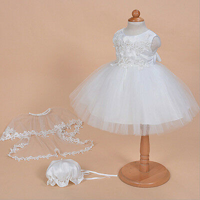 3pcs set Newborn Infant Baby Girl Dress Pageant Baptism Christening Wedding Suit