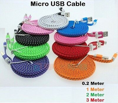 1M 2M 3M Strong Flat Braided Fabric Micro USB Data Charger Cable for Samsung UK