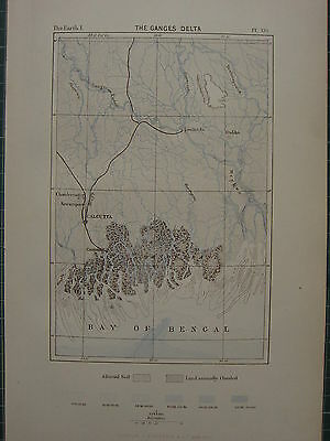 1886 Antique Map ~ The Ganges Delta Bay Of Bengal India Alcutta Alluvial Soil