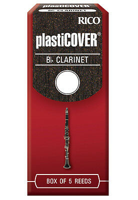 Brand New Rico Plasticover Bb Clarinet Reeds, Box of 5, RRP05BCL