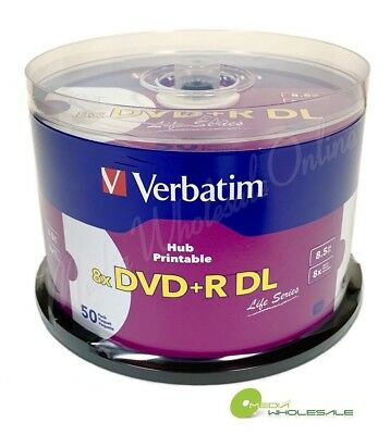 VERBATIM 8X Blank DVD+R DL Dual Double Layer 8.5GB 50pk White Inkjet Printable