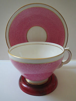 Adderley Lawley Bone China - Pink And White With Gold Trim - Teacup And Saucer