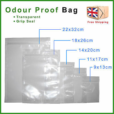 Smell Proof Plastic Bags Food & Herb Safe Stash Grip Zip Lock Seal Odour Baggies