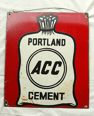 Original Old Vintage Rare Porcelain Enamel ACC Brand Portland Cement Sign Board