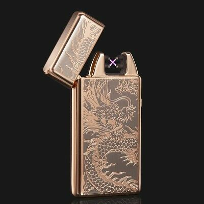 Gold Dragon Electric Dual Arc Metal Flameless USB Rechargeable Windproof Lighter