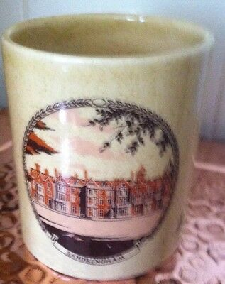 Vintage Holkham Pottery Bowl/Cup Showing Sandringham Queen's Residence Norfolk