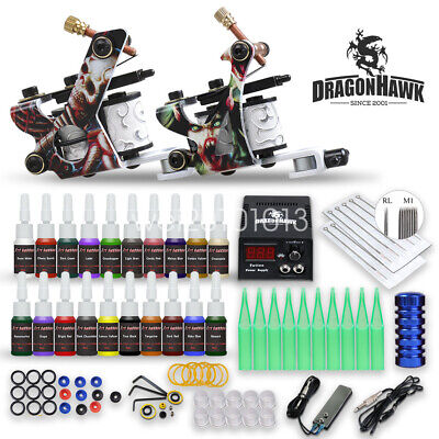 Beginner complete Tattoo Kit Machine Gun Power Supply Set color ink Needle Tip E