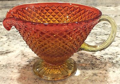 Vintage Antique Glass Art Amberina Diamond Creamer Bowl Cut Glass Red Orange