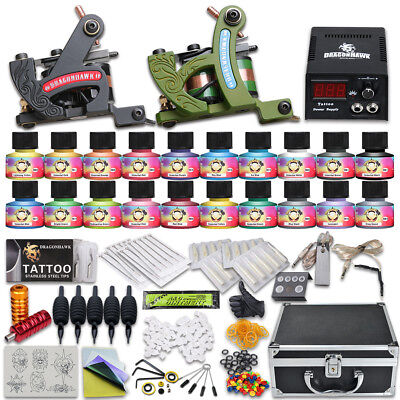 Tattoo Kit 2 Machine Gun Power Supply Set UK color ink Needles Grip 10-24ED-11CE