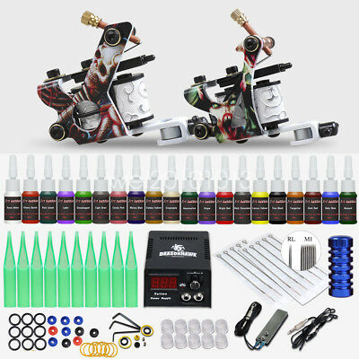 Tattoo Kit 2 Machine Gun Power Supply Set UK color ink Needles Grip HW-10ED-9CE