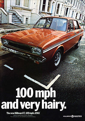 HILLMAN GT RETRO A3 POSTER PRINT FROM CLASSIC 60's ADVERT