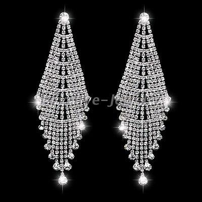 Luxury Bridal Full Rhinestone Crystal Tassel Drop Long Earrings Wedding Jewelry