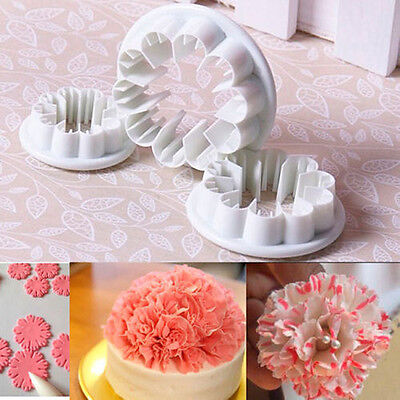 3tlg. Nelke Blume Blütenblatt Kuchen Cookie Cutter Sugarcraft Decor Fondant Mold