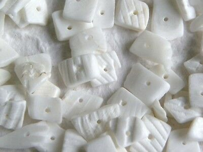32g Approx 150 White Ribbed Shell Chips Beads with Hole MANY MORE IN MY SHOP