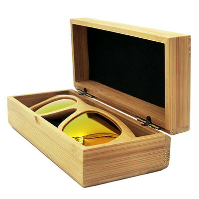 Rectangle Wood Grain Hard Eyewear/Sunglasses Storage Clamshell Case Box AU