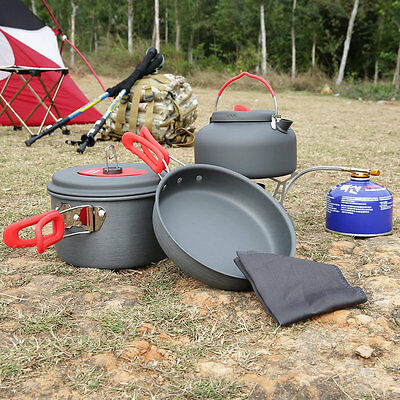 Outdoor Hiking Cooking Picnic Cookware Pan Pot Kettle Dishcloth Set Portable AU