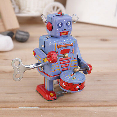 Vintage Metal Tin Drumming Robot Clockwork Wind Up Tin Toy Collectible AU