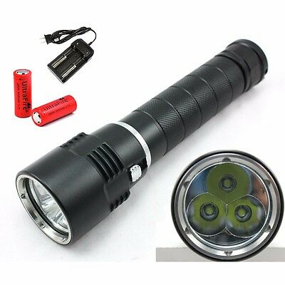 New 6600Lm 3x CREE T6 LED Underwater 26650 Scuba Diving Flashlight Torch Lamp UK