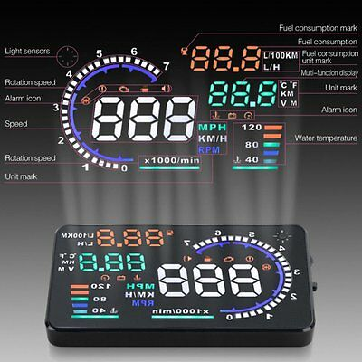 "A8 5.5"" Car HUD Head Up Display OBD II 2 Speed Warning System ~ Fuel Consumption"