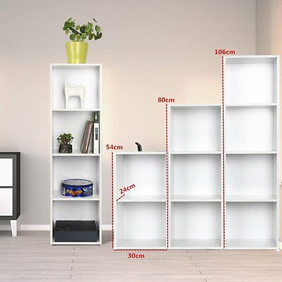 2,3,4Tier Wooden Bookcase Shelving Display Storage Wood Shelf Shelves Unit White