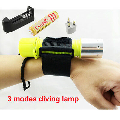 2000LM CREE XML T6 LED Diving Torch Dive Flashlight Underwater Lamp Light