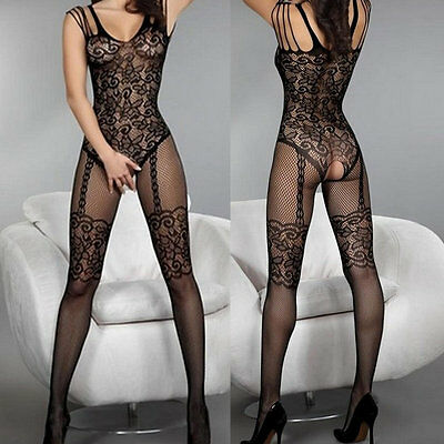 New Exqusite Design Sexy Much-loved Floral Motif Mesh Body Stockings Black AU