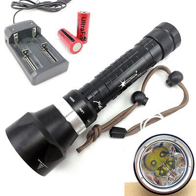 4xCree T6 6000LM LED Under Water proof Diving Flashlight Torch 100M Dive Lamp UK