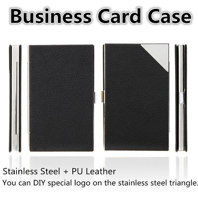 Stainless Steel Business Name Credit ID Card Case Holder PU Leather Box AU