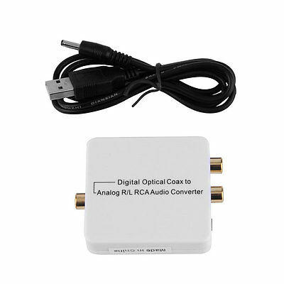 Digital Optical Toslink Coax to Analog R/L/RCA 3.5mm Audio Converter Adapter AU